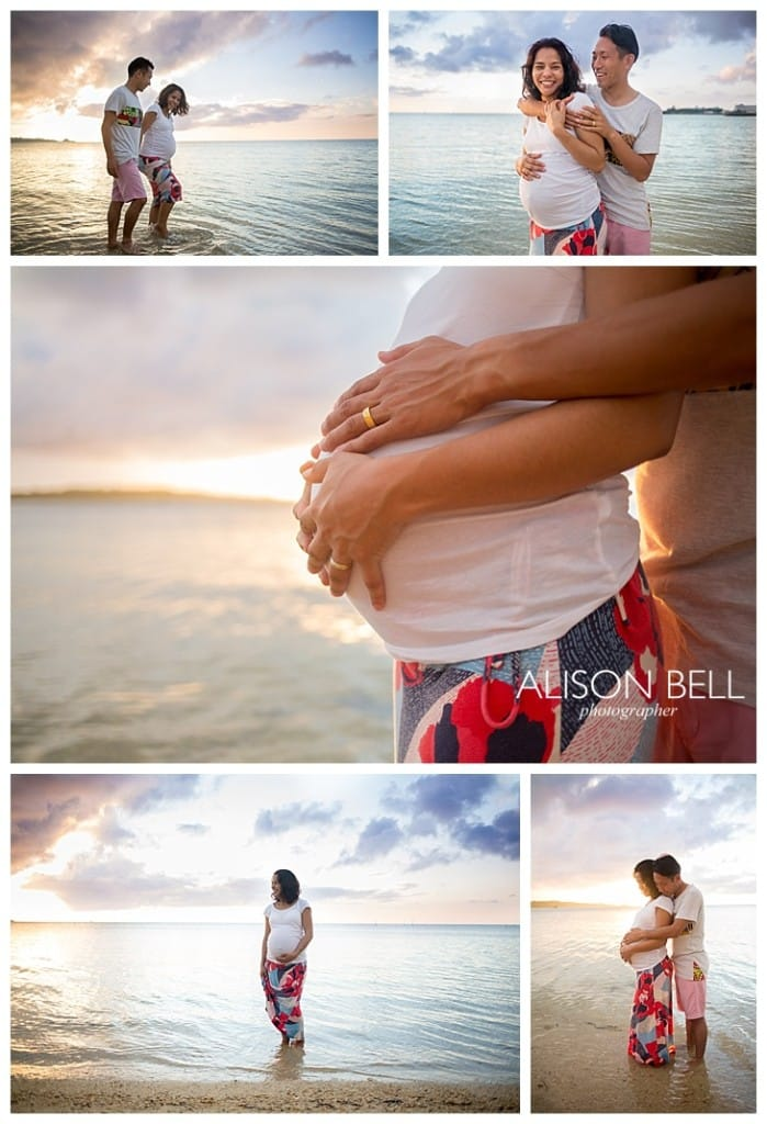 Maternity, blue skies, beach, sunset, couple photographer, photography