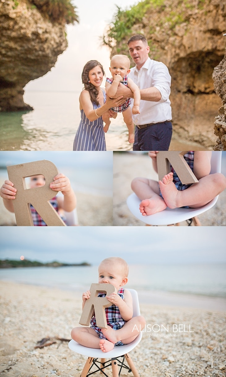 Alison Bell Photographer, Okinawa, Japan, family, child, infant, one year, dress, beach, sunset, toguchi