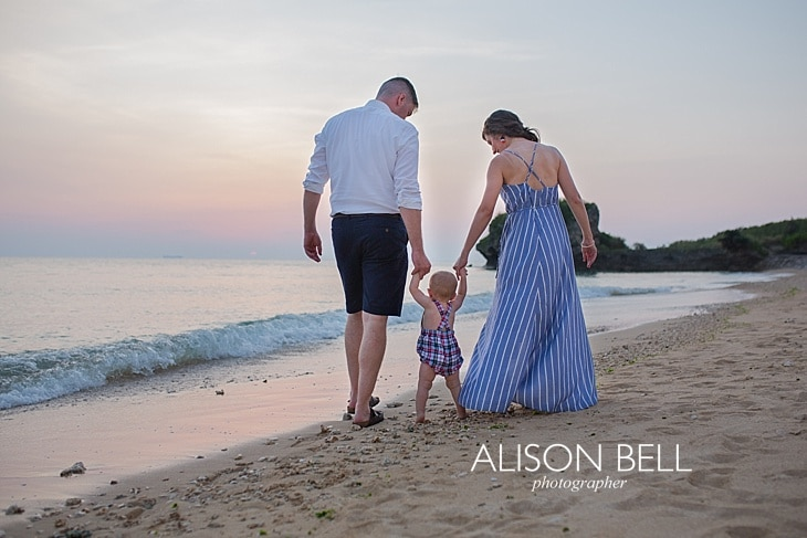 Alison Bell Photographer, toguchi, Okinawa, Japan, family, child, infant, one year, dress, beach, sunset