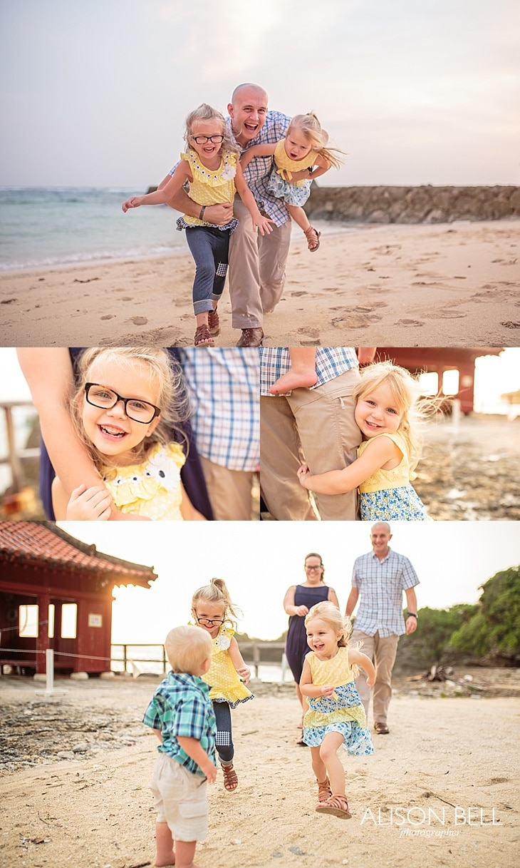 Alison Bell, family, girls, sisters, torii, red, okinawa, yomitan, beach