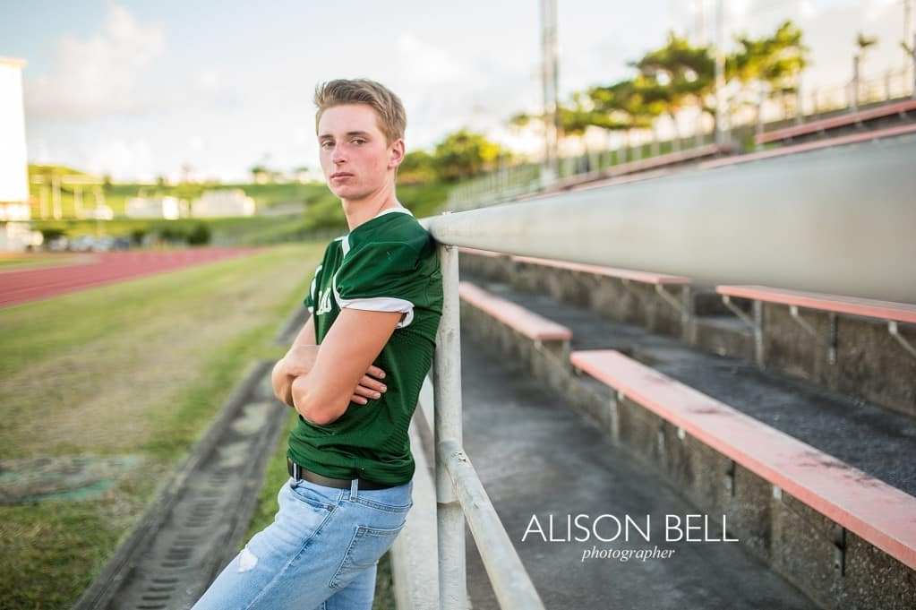 Simple senior portrait for football players at Kubisaki High School in Okinawa, Japan by Alison Bell, Photographer