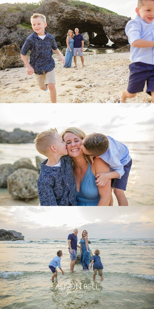 Family of four on the beach in Okinawa Japan, Alison Bell, Photographer