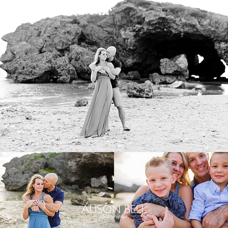 Family of four with small boys on the beach at Mermaid's Grotto in Okinawa, Japan by Alison Bell, Photographer