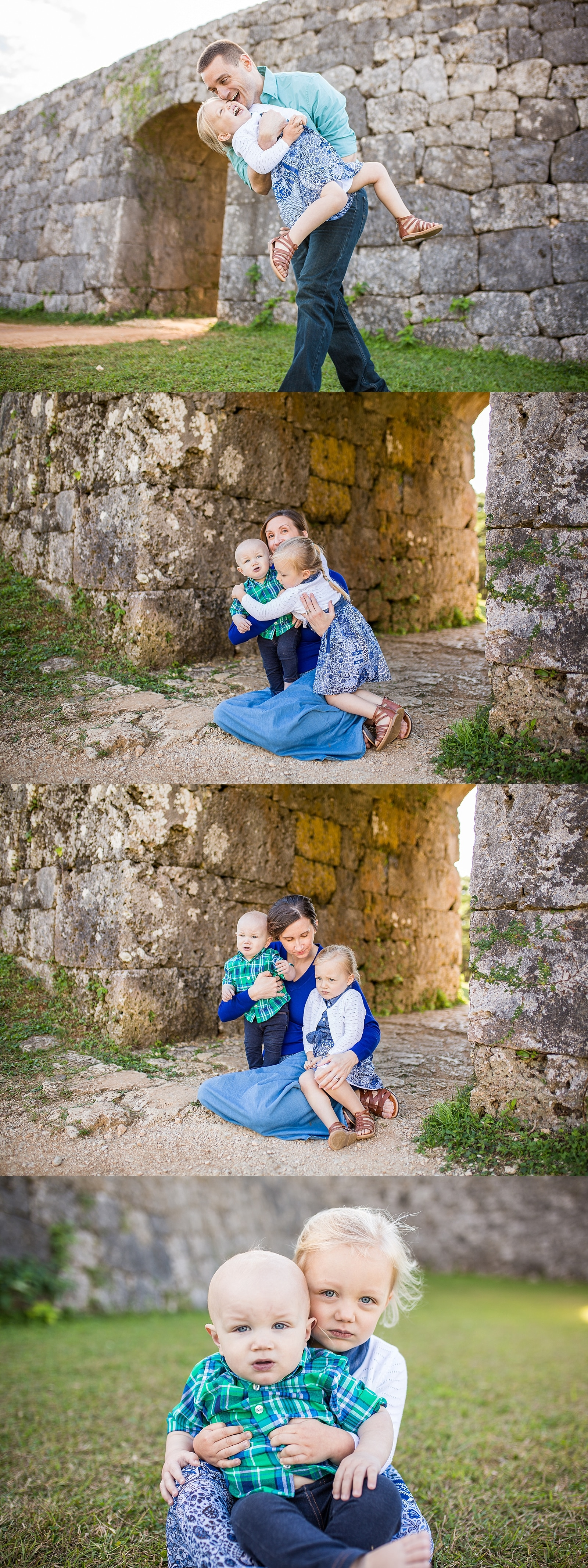 Family of four, infant and preschooler, at zakimi castle in okinawa japan by alison bell photographer