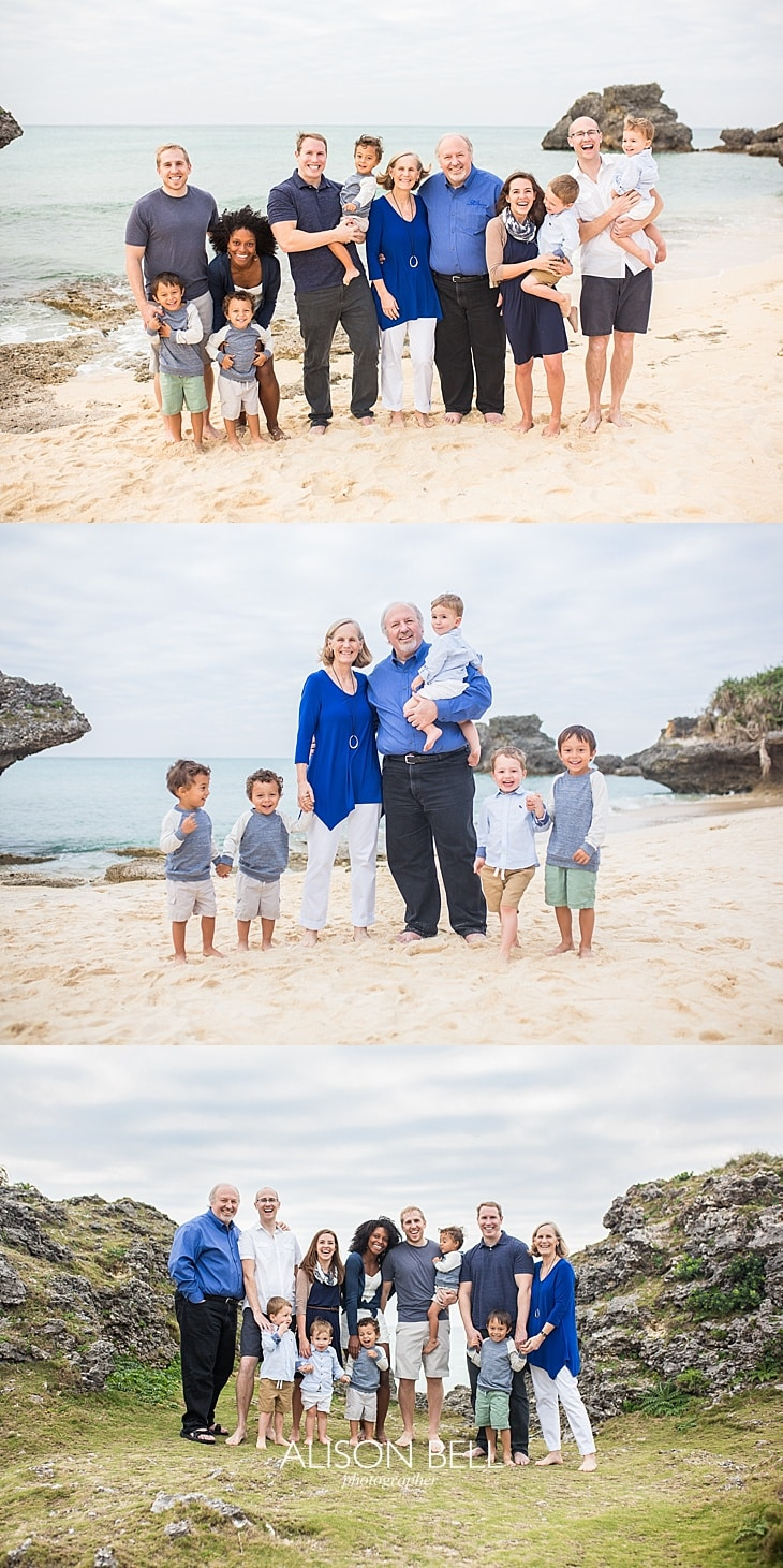 Family of 12 photo session at the beach in okinawa, Japan by Alison Bell, PHotographer